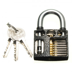 Perspective Cutaway Inside View Of Practice Padlock With 3 Keys Lock Pick Tools