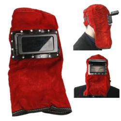 Red Leather Face Neck Protected Lens Glasses Welding Hood Helmet Mask Overhead