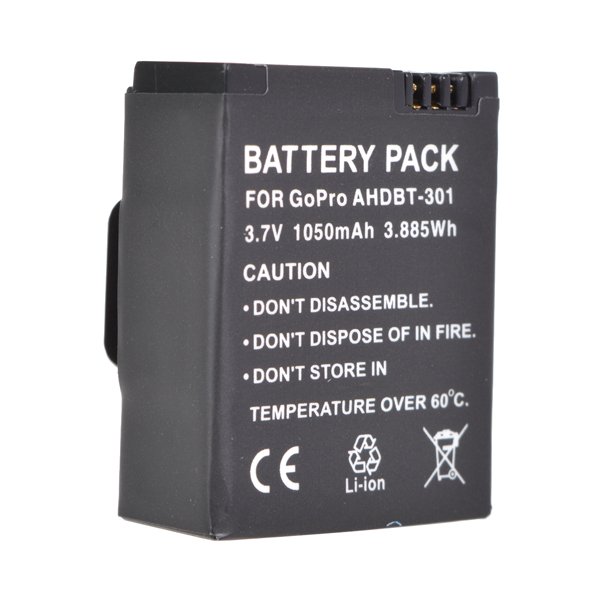 1050mAh Ahdbt-301 Batteri til Gopro Hero 3/3 + Genopladeligt Batteri Foto & Video