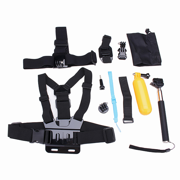 12 i 1 Chest Belt Hoved Strap Hoved Strap Helmet Belt Mount J-Hook Buckle Mount Kits for Gopro 4 3 2 3 Plus Foto & Video