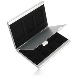 12 Slots Aluminum 8 X TF 4 X SD-hukommelseskort Opbevaring Box Case Holder Beskyttelse