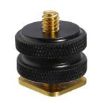 1/4 tommer Dual Gold Nødder Tripod Mount Skrue til kamera Hot Shoe Adapter