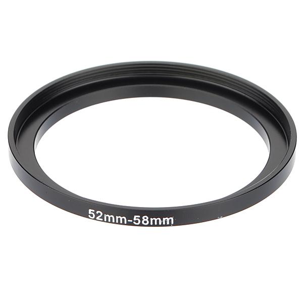 52mm-58mm Metal Step Up Lens Filter Ring Stepping Adapter Sort Foto & Video