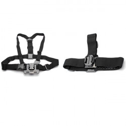 Chest Shoulder Strap + Elastic Adjustable Head Strap With 360 Degree Rotatable Mount For Gopro Hero 3+/3/2/1