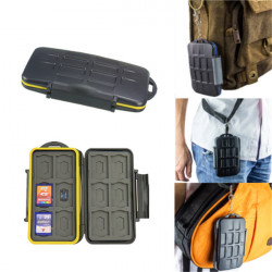 JJC MC-SD12 Water-resistant Shockproof 12 SD And 12 Micro SD TF Cards Storage Memory Card Case