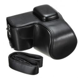 Leather Camera Bag For Samsung NX1000 With Shoulder Belt Hand Strap