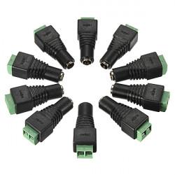 10 st I 1 5,5 x 2,1 mm likströms Kvinna Jack Connector Cable Adapter