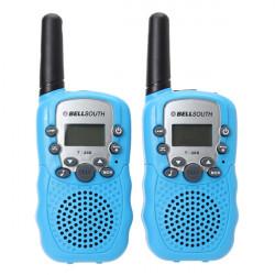 T-388 0.5W UHF Auto Multi-kanaler Mini Radios Walkie Talkie Blå