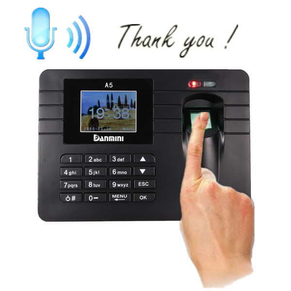 Time Recorder TFT Screen Clocking In Clock Machine Employee Attendance Check Fingerprint+Password Bulit-in Amplifier Security System & Protection