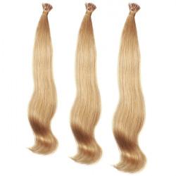 100st Honey Blonde Rak Stick I-Tip Människohår Pieces Extension