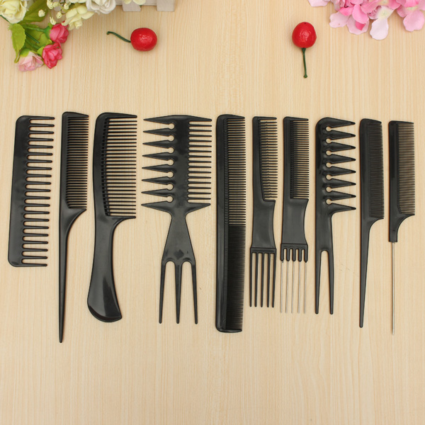10 PCS Salon Makeup Antistatisk Hairbrush Hair Comb