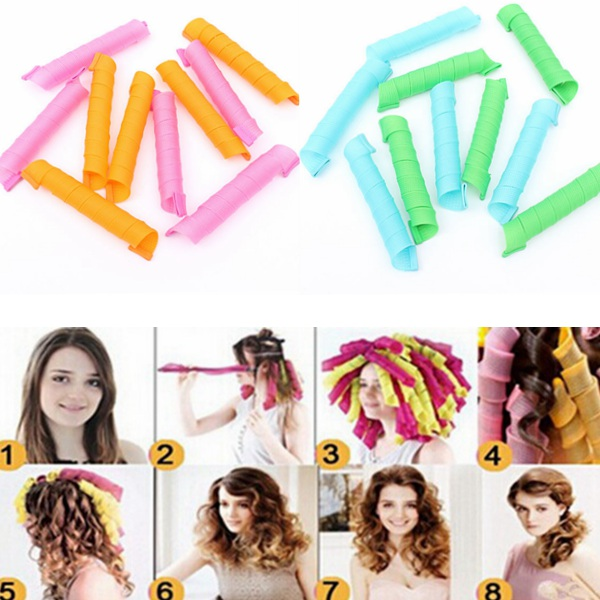 10Pcs 55cm Magic Hair Styling Spiral Curlers Rollers Hair Care & Salon