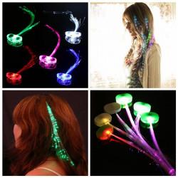 10Pcs LED Hair Extension Party Clip Pony Tail Fiber Optic Light Up