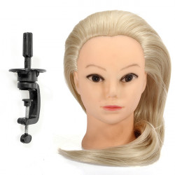 "18"" Blont Fiber Hair Frisör Training Head Modell"