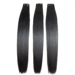 20-26Inch PU Tape 100% Black Straight Human Hair Extension