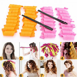 36Pcs 25cm Magic Hair Styling Spiral Curlers Rollers With 2 Hooks
