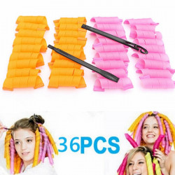 36Pcs 30cm Magic Hair Styling Spiral Curlers Rollers With 2 Hooks