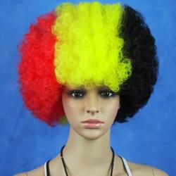 Belgien Flagga VM Fans Syntetiska Cosplay Party Peruker