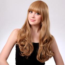 Blond Neat Bang Frisyr Syntetisk Lockigt Peruk