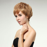 Blond Kort Bob Frisyrer Lutande Syntetisk Peruk Hårprodukter