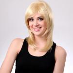 Capless Blond Lutande Bang Syntetisk Lockigt Peruk Hårprodukter