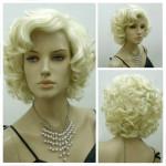 Classic Star Style Monroe Cosplay Kvinnor Kort Lockigt Hår Peruk Hårprodukter