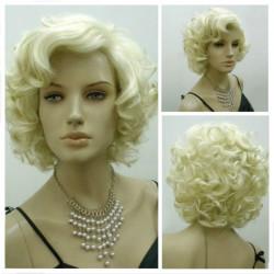 Classic Star Style Monroe Cosplay Kvinnor Kort Lockigt Hår Peruk