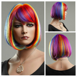 Colorful Rainbow Bob Style Short Straight Hair Wigs