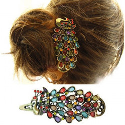 Colorful Vintage Retro Antique Crystal Peacock Hairpin