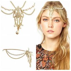 Krone Pearl Tassel Chain Smykker Romantisk Crystal Zinc Alloy Hovedbøjle