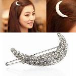 Crystal Moon Shape Rhinestone Hair Clip Bang Hairpin Claw Hair Care & Salon
