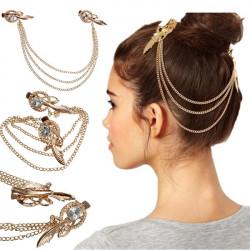 Crystal Rhinestone Fjer Hairpin Brude Hår Metal Chain Smykker