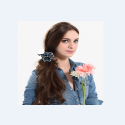 Crystal Paljetter Pärlor Twist Blomster Shape Clip Hår