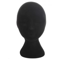 Kvinna Svart Frigolit Skyltdocka Head Stand Modell