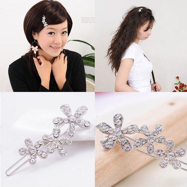 Blomst Barrette Frisør Silver Crystal HårspændeTilbehør Hairpin Hårpleje / Produkter