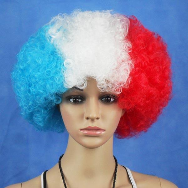 Franska Flagga VM Fans Syntetiska Cosplay Party Peruker Hårprodukter