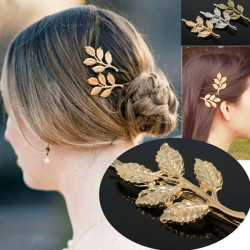 Gold Metal Leaves Hair Clip Hairpin Decoration Headwear