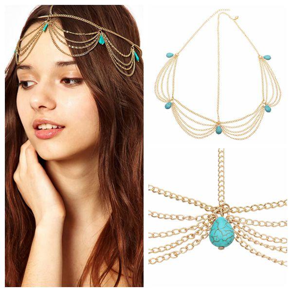 Gothic Bohemian Turquoise Tassel Girls Hairband Hair Accessories Hair Care & Salon