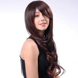 HT001 2T33 Capless lange Brown Side Bang Synthetische Locken Perücke