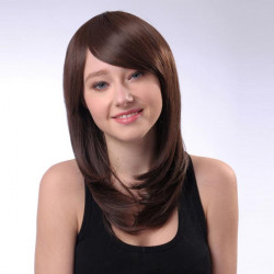 HT004-9 Capless Long Brown Side Bang Synthetic Straight Hair Wig