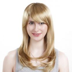 Geneigten Seiten Bang Synthetische blonde gerade lange Perücke
