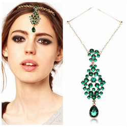 Indian Princess Style Green Rhinestone Chain Hair Accessories Hairband