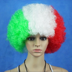 Italien National Flag VM Fans Syntetiske Cosplay Party Parykker