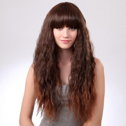 LC015-2T30 Light Brown Synthetic Neat Full Bang Long Curly Hair Wig