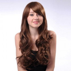 LC065-M827 Capless Long Brown Side Bang Synthetic Curly Hair Wig