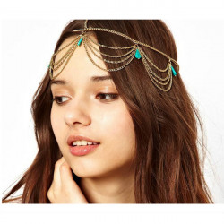 Lady Headdress Turquoise Stone Guld Pandebånd Hår Cuff Chain