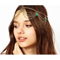 Lady Headdress Turquoise Stone Gold Headband Hair Cuff Chain