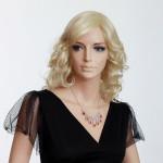 Lady Lång Lockig Peruker Naturliga Hårprodukter