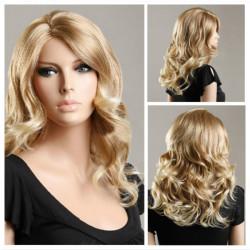Mid Long Golden Wave Women Hair Wigs