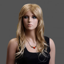 New 100%KANEKALON Middle Parted Natural Curly Gold Long Women Wig